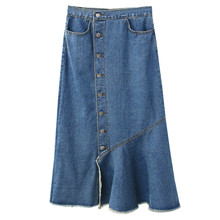 B22501A Women Fashion Simple high waist Fishtail denim Skirt