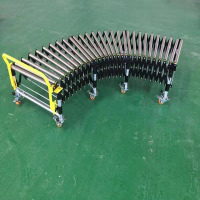 motorized curved expandable stretchable gravity flexible carrier roller conveyor for industry Warehouse
