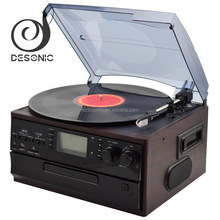 high quality vinyl record 3 speed lp cd /usb /sd wooden turntable record player