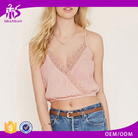 2016 guangzhou shandao oem service summer new design sexy sleeveless lace patchwork women crop tops wholesale