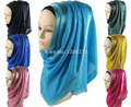 muslim fashion viscose plain hijab with satine border scarf hijab shawl solid hijabs shawls QK012