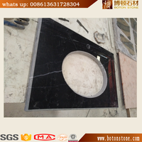 BOTON manufacturer Black Marble Vanity Top cut from marble slabs