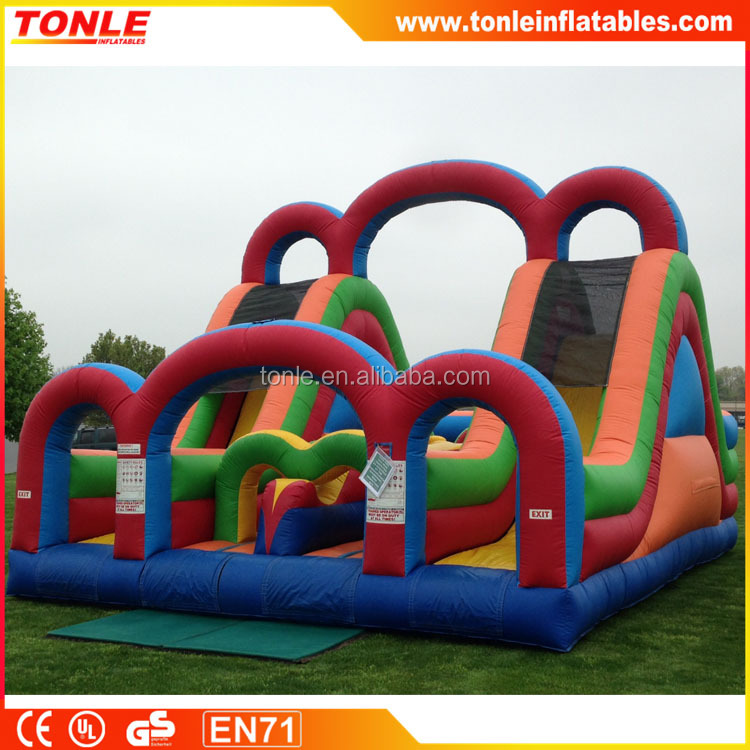 Inflatable turbo rush with double slide obstacle course for adults