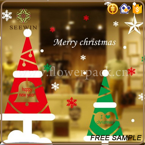 chinese christmas ornament colorful christmas glass window stickers