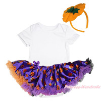 Halloween Plain White Bodysuit Girls Purple Pumpkin Baby Dress Headband NB-18M