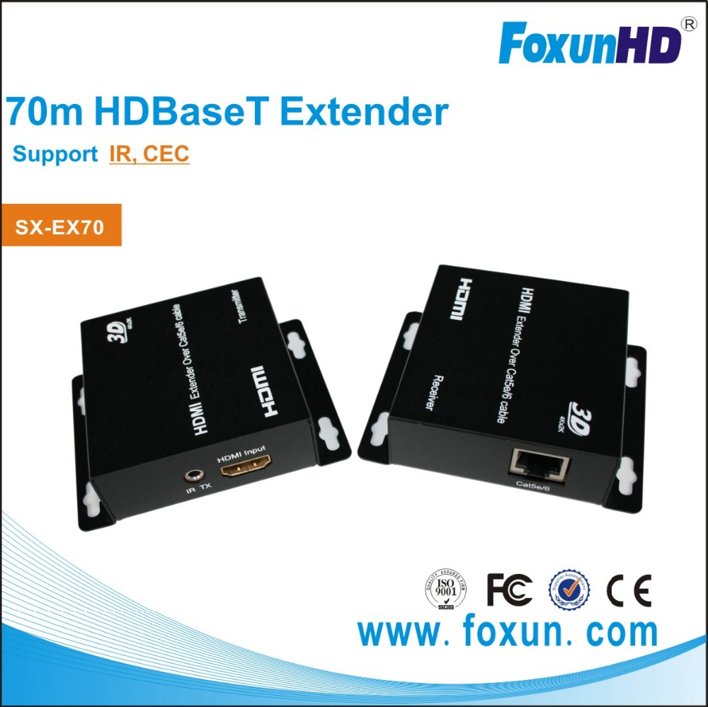 SX-EX70 70m HDBaseT transmitter and receiver Over Single Cat5/Cat6 , support 3D, IR ,CEC