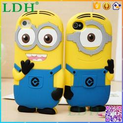 3D despicable me minion silicone rubber cartoon case for iphone 5