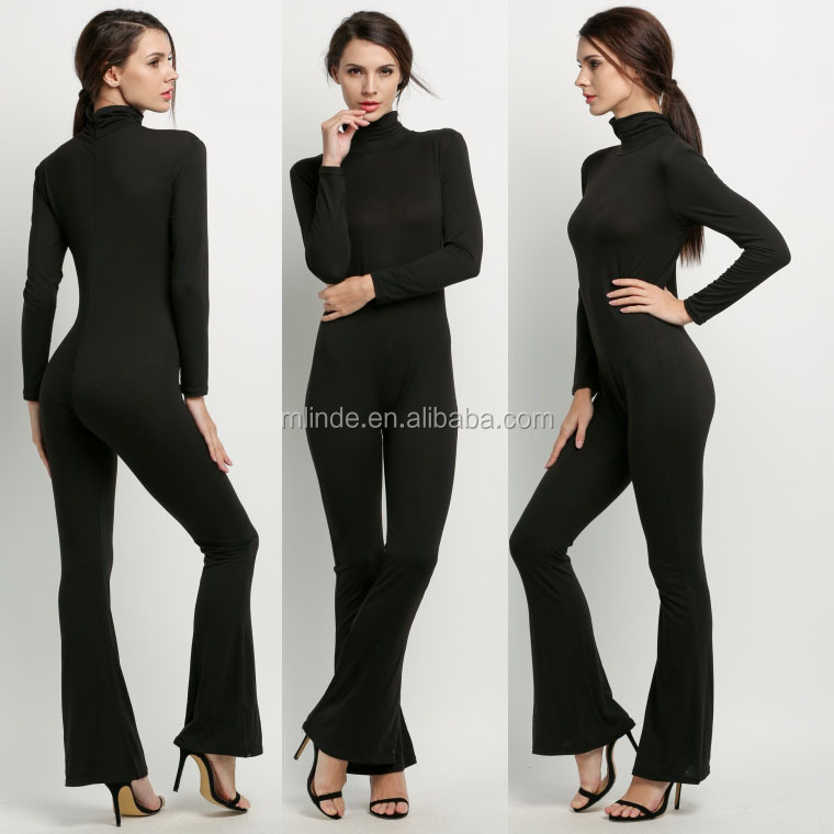 long sleeve tight sexy winter spring custom design your own black pyjamas adult wholesalers one piece woman overalls workwear