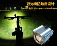New fashion double light spot rechargeable aluminum bicycle front light LED flashlight