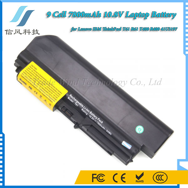 7800mAh 10.8V for Lenovo IBM ThinkPad T61 R61 T400 R400 41U3197 Battery