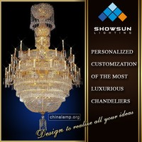 Iron candelabras lace Octagonal crystal chain hotel foyer large pendant lamp