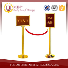 Gold Stainless Steel Crowd Control Barrier with Sign Board