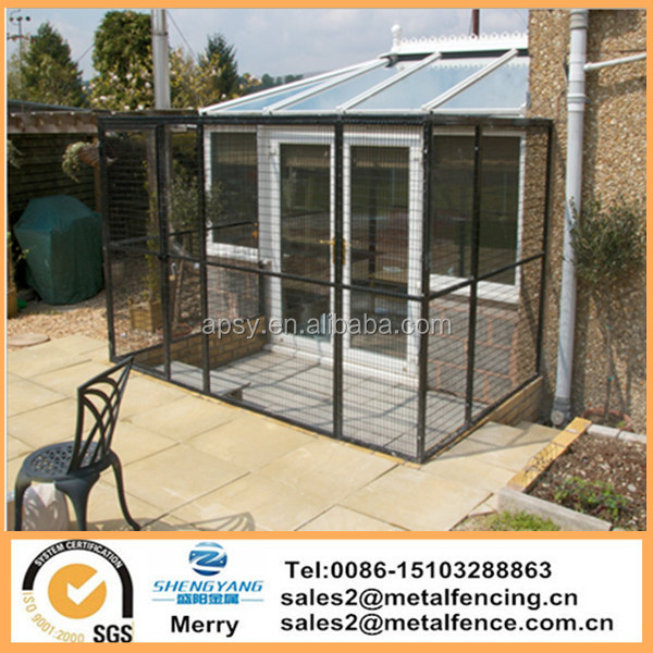 Walk in parrot enclousure cage yard extending from conservatory cat aviary welded run cage