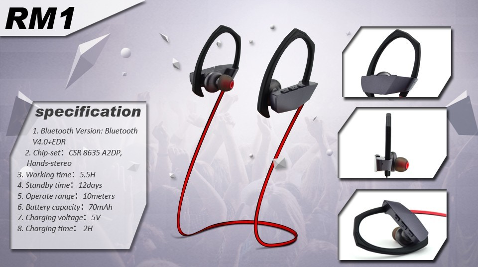 Hot sell bluetooth headphones v4.1 wireless sport stereo noise cancelling earphone with Mic for mobile phone RM1
