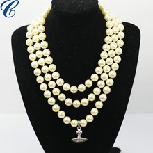 LONGER LENGTH STYLE FAUX PEARL PENDANT BIJOUX NECKLACE