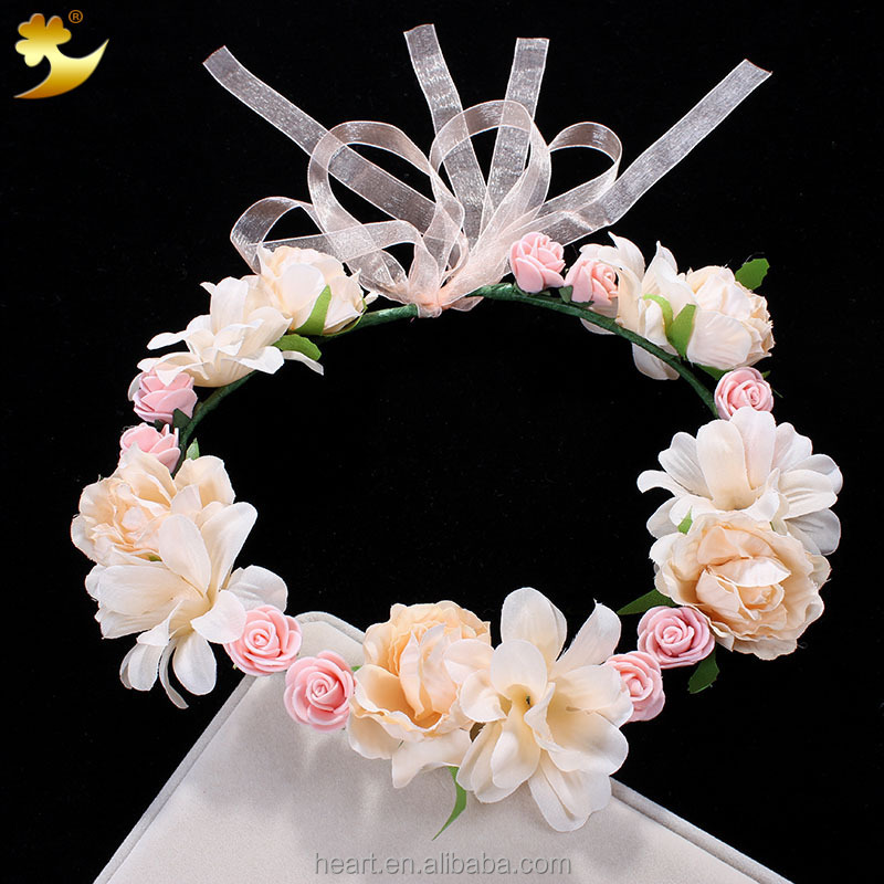 Bright color cheap fresh looking fabric flower wedding wreath wedding floral garland 58050
