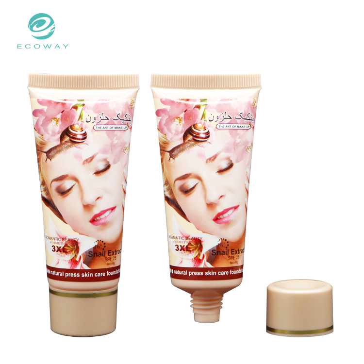 Customized design empty oval tubes foundation cosmetic plastic packaging tube
