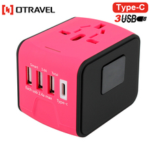 Promotion gift mini type c universal world wide travel charger power adapter plug with 4 port usb charger