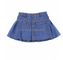 Newest baby girls summer cotton short skirt dress navy blue kids denim skirts