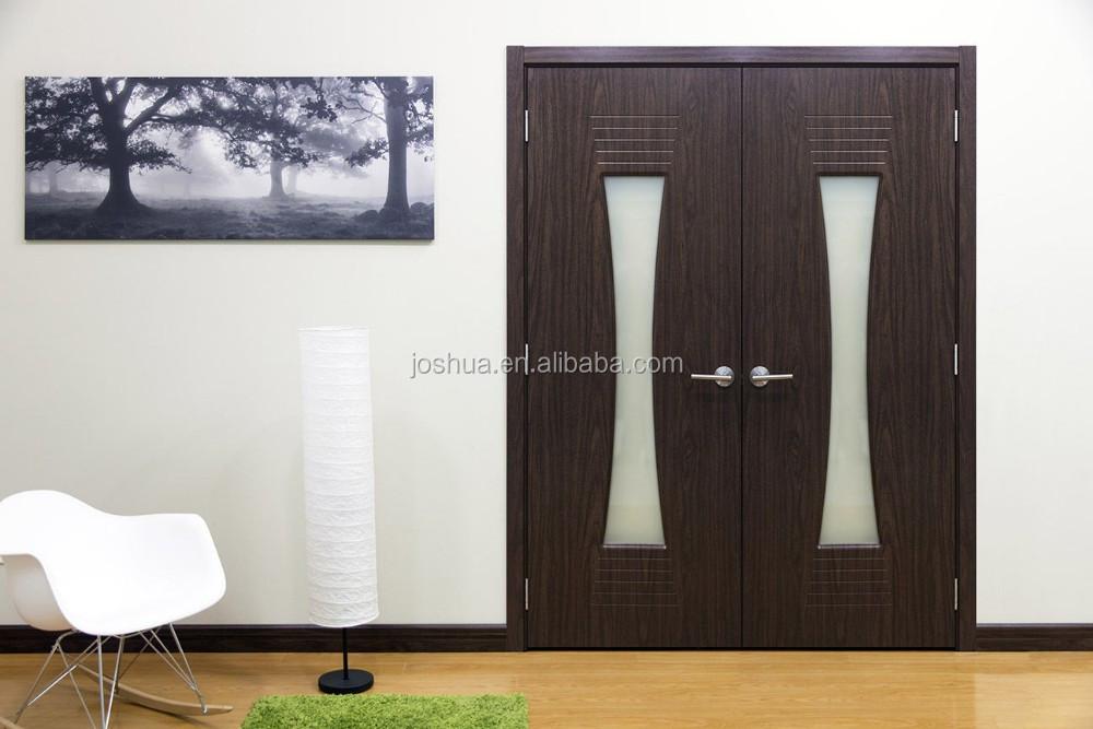 """Modern Interior Double Doors 64"""" x 80"""" black walnut modern double interior wood door frosted"""