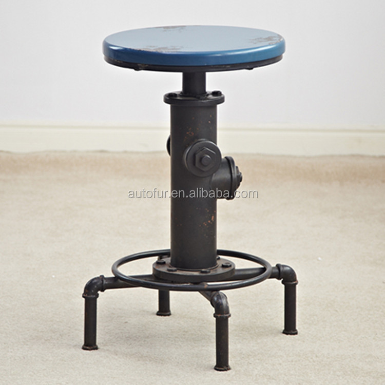 American Retro Conduit Metal Coffee Table and Stools height adjustable