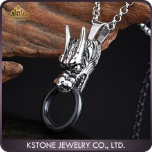KSTONE Fashion Jewelry 316L Stainless Steel Dragon Shape Punk Skull Pendant for Men
