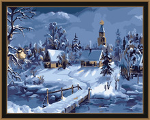 2016 framed winter village cottage diy painting by numbers for living room fp5057