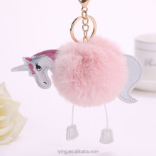 Creative Cute unicorn Mobile Chain Decorative Handbag Key Chain Rabbit Fur Ball Pompom Fur Key Chain