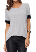 EY1452B Cotton T Shirts Wholesale Manufactures China Short Sleeve Black and Grey Women Tshirt
