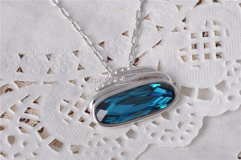 B060061N-Fashion Single Stone Jewelry Pendant Necklace Big <strong>Crystal</strong>