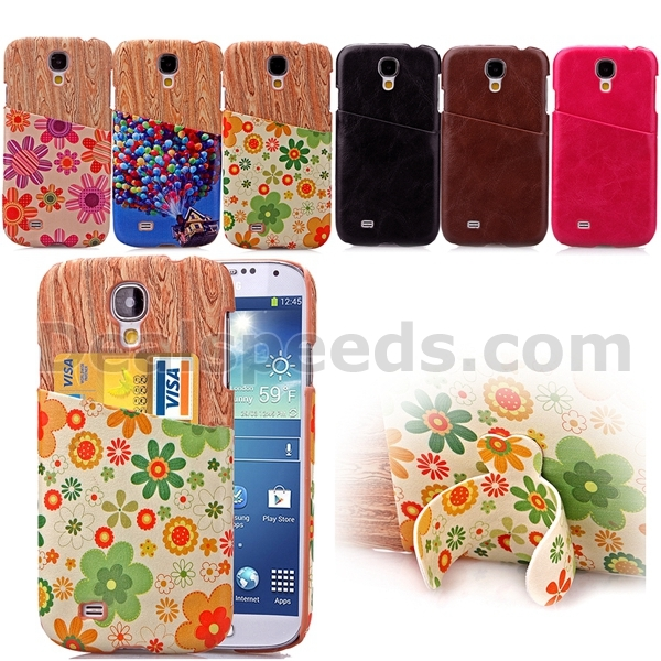 Wood Pattern With Card Slot Stand Cases for Samsung Galaxy S4 i9500