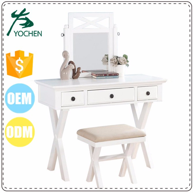 Luxury Hand Painted High Gloss White hotel dressing table