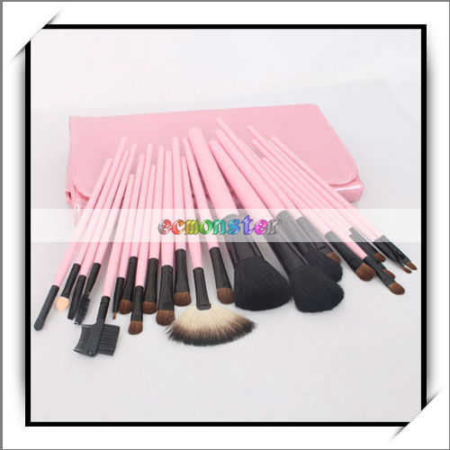 Hot Pink Makeup Brush Set With Cosmetic Bag - 10004282