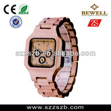 100% natural handmade wood wrist watch for men with three fake chronograph time