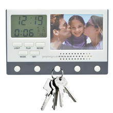 2017 Fancy Home Gifts Voice Recorder Key Hanger Calendar Wall Clock With Photo Frame