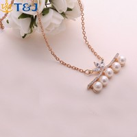 2016 wholesale jewellry women fairy gold plated pearl crystal pendant necklace Mother's Day Gift/