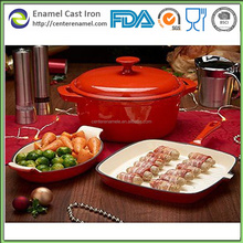 Enamel casseroles and fry pans red cast Iron cookware set