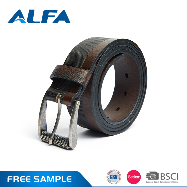 Alfa Best Selling Products Double Color Roller Buckle PU Handmade Full Grain Leather Belts Argentina For Man