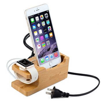 Display Stand for Watches, Bamboo Wood Charge Dock Holder for Apple Watch & Docking Station for iPod iPhone iPad & Tablets