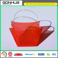 PP environmental fruit packaging trapezoidal small plastic gift bags with circle tube handle