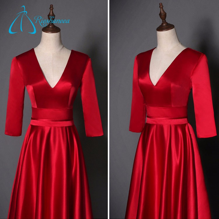 Long Sleeve Satin 2017 Real Sample Red Evening Dress For