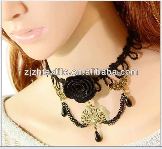Womens Lace Crochet Beaded Choker Necklace