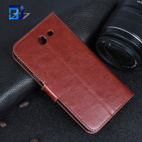 Retro Premium PU Leather Crazy Horse Texture Horizontal Flip Wallet Stand Case with Card Slots for Samsung Galaxy J3 2017