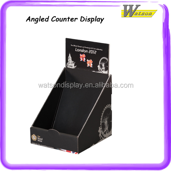 best design promotion and advertising for christmas corrugated jewellery display angled counter unit