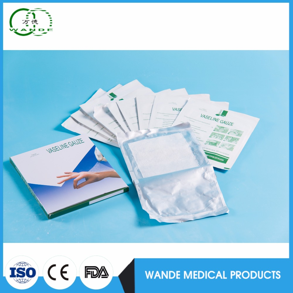 certificate approved Medical sterile paraffin gauze, burn dressing vaselin, paraffin gauze dressing swab