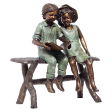 Bronze Sculpture Garden Statue - Girl and Boy Sitting on a Bench Reading Books BS279A