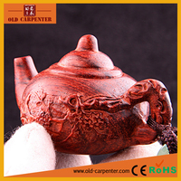Wholesale Elegant Carved Teapot handheld small wood craft