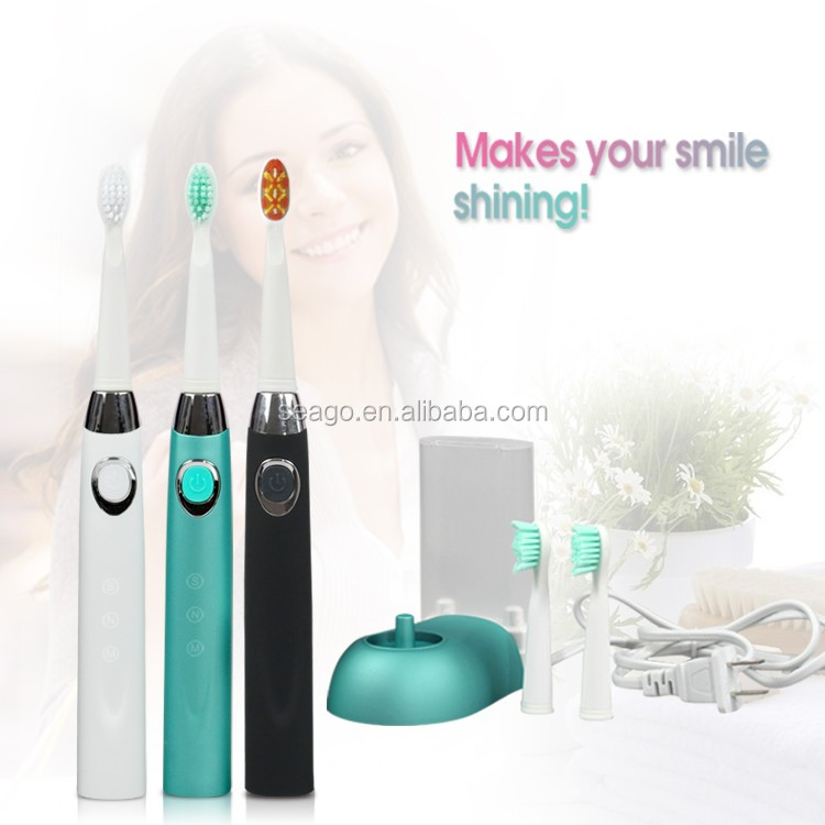 manufacturer IPX7 Lithium battery Rechargeable Sonic electric toothbrush with 2 replacement head SG-508