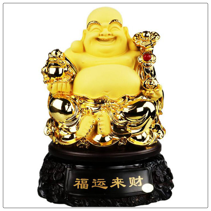 Gold Sand Resin Laughing Golden Buddha Carving for Home Decorative