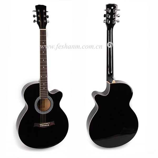 Full Size Black acoustic Guitar with Amp, Case and Accessories Pack Beginner Starter FS-4014